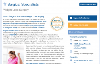 VHC Physician Group Search Engine Marketing Microsite